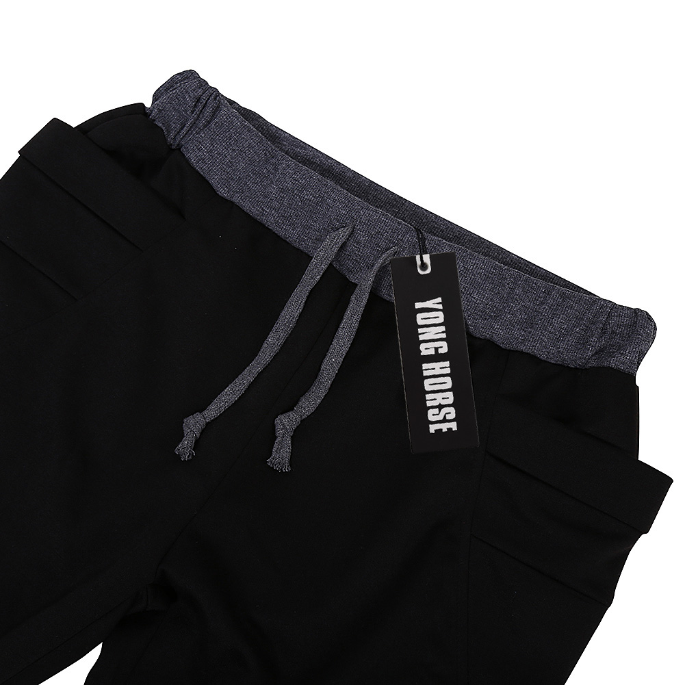 YesFashion Men's Elastic Force Elastic Waist Pocket Casual Pants Black S