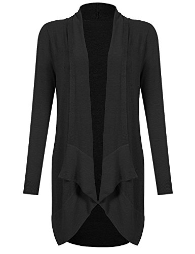 YesFashion Women's Fashion Long Sleeve Drapped Open-Front Shawl Collar High Low Knit Cardigan