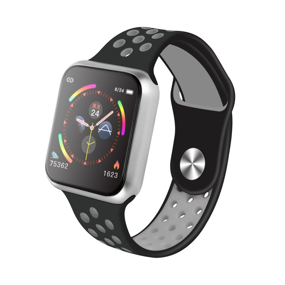 F9 Smart Bracelet Full Color Screen Touch Smartwatch Multiple Motion Patterns Heart Rate Blood Pressure Sleep Monitor  Silver shell black gray belt