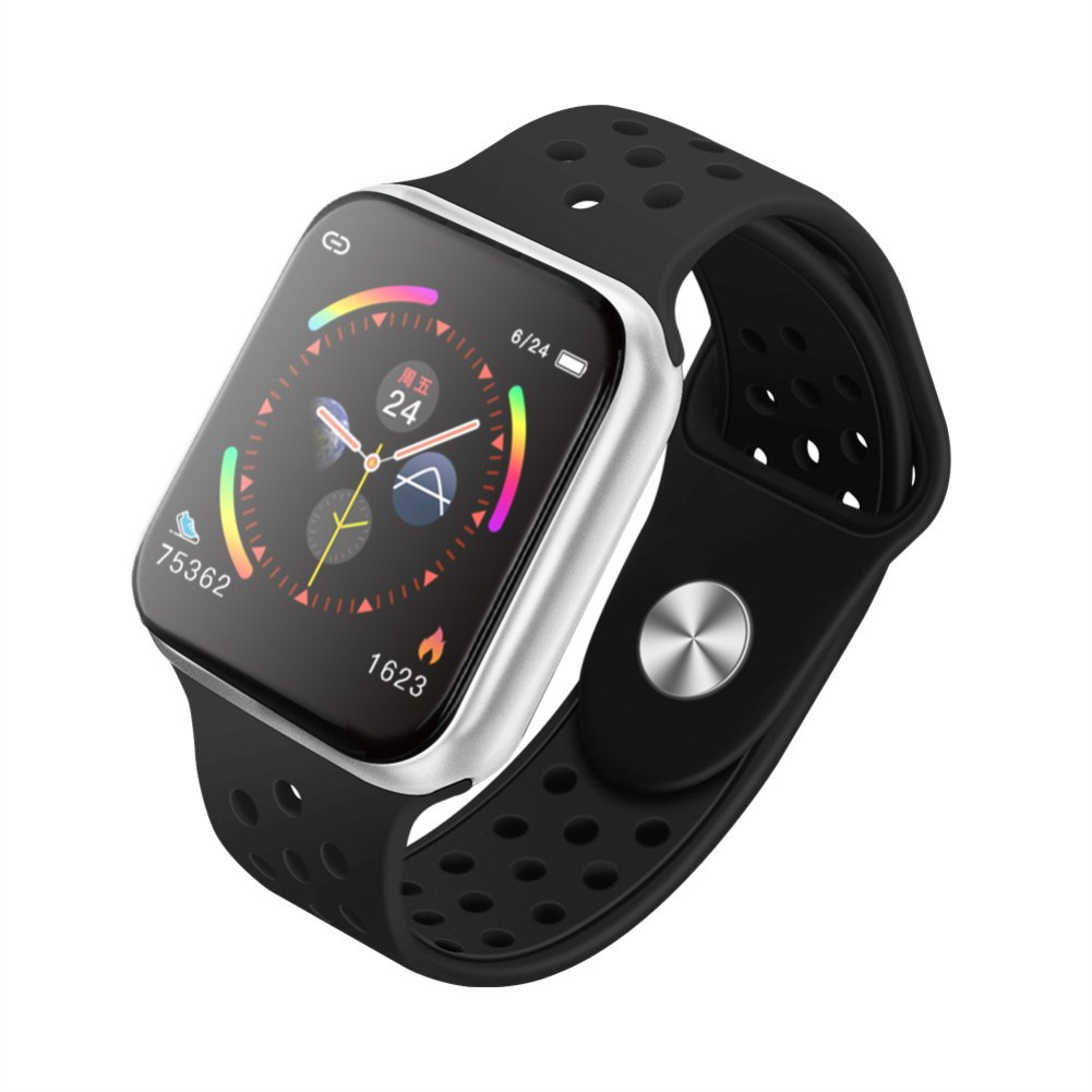 F9 Smart Bracelet Full Color Screen Touch Smartwatch Multiple Motion Patterns Heart Rate Blood Pressure Sleep Monitor  Silver shell black belt