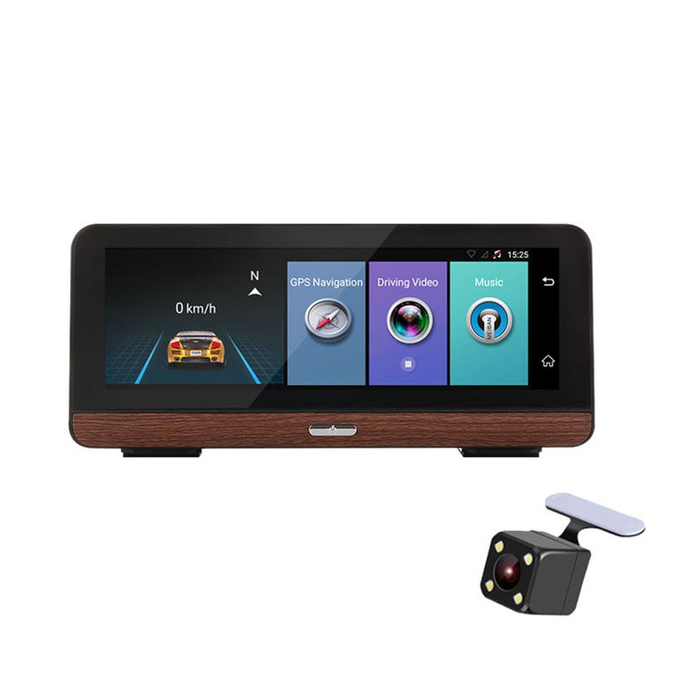 Car GPS Navigation Tracker 4G 8 inch Car DVR Rear View Camera with Dual Lens Android Video Recorder Navigators Black