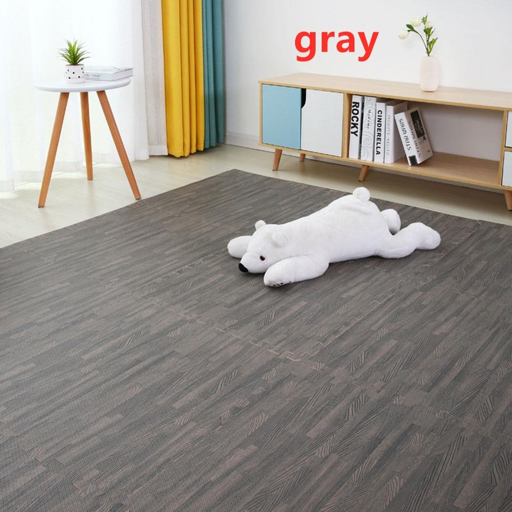 16Pcs/Set Imitation Wood Grain Crawling Mat Educational Game Pad for Children gray_16pcs