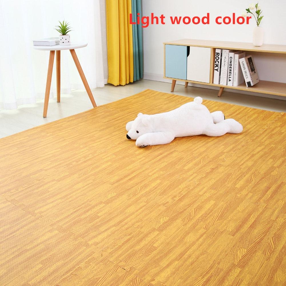 16Pcs/Set Imitation Wood Grain Crawling Mat Educational Game Pad for Children Light color_16pcs