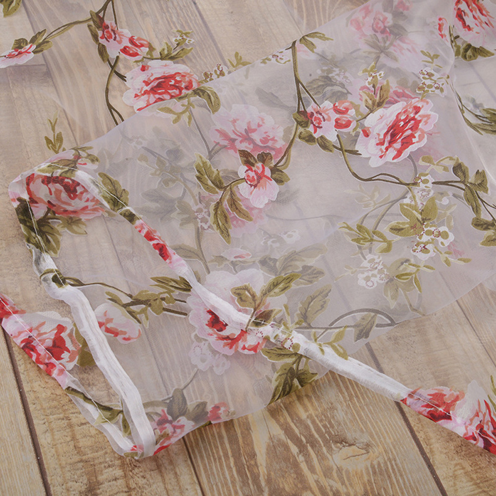 Flower Printing Window Curtain Tulle for Living Room Bedroom Drapes Decor red_1 meter wide x 2 meters high