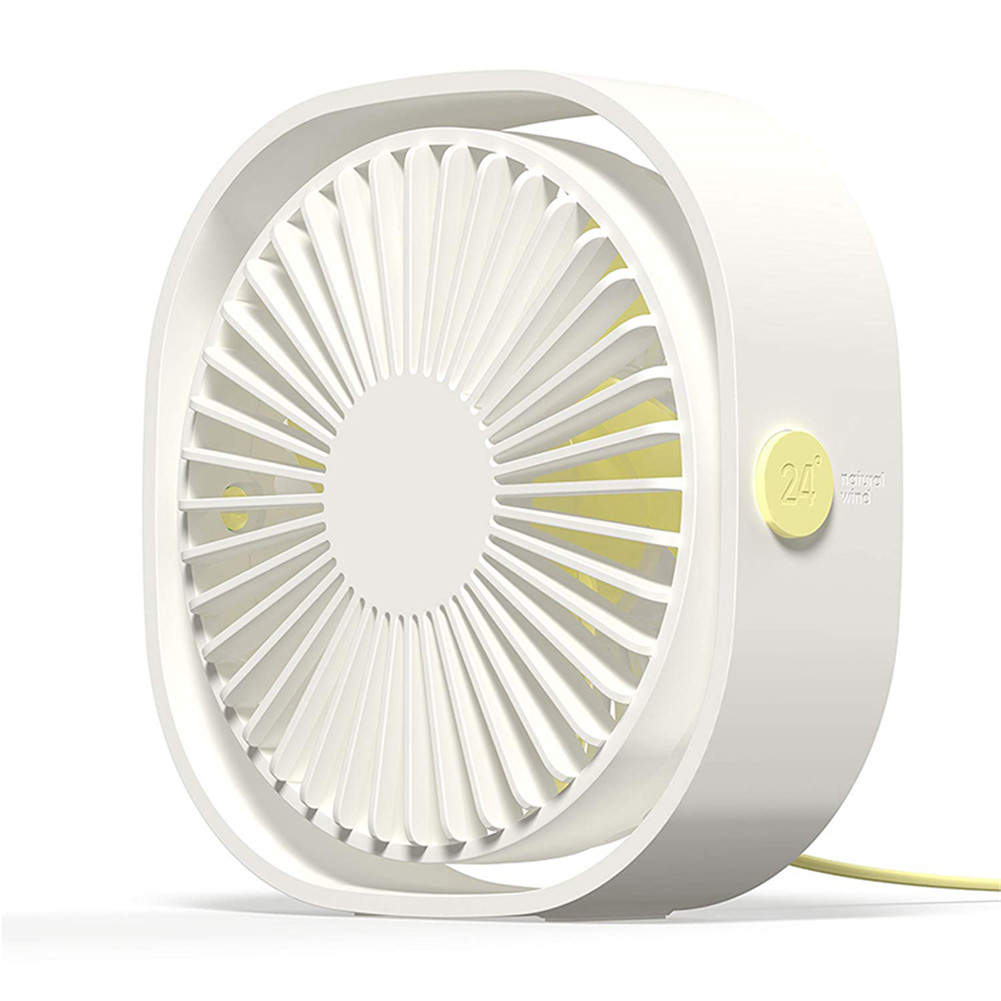 3 Speeds Mute USB Fan 360Degree Rotating Adjustable Portable Cooling Fan for Office Travel white