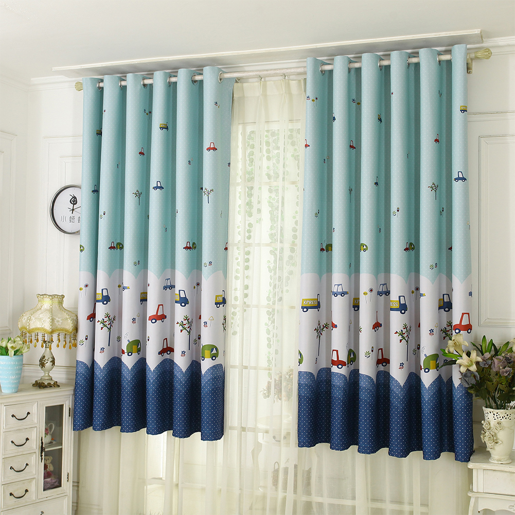 1Pc Curtains Printed Polyester Fiber Cartoon Living Room Bedroom Balcony Blackout Curtains As shown_100 * 200 (1 * 2 meters high)