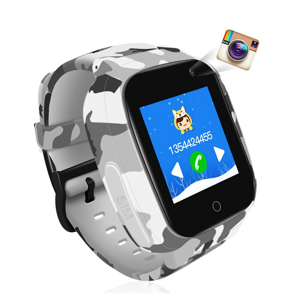 Children Smart Watch Kids GPS 600mAh Battery 1.3inch Touch Screen Waterproof Baby Smartwatch Support SOS GPS Location Video Call camouflage_Russian