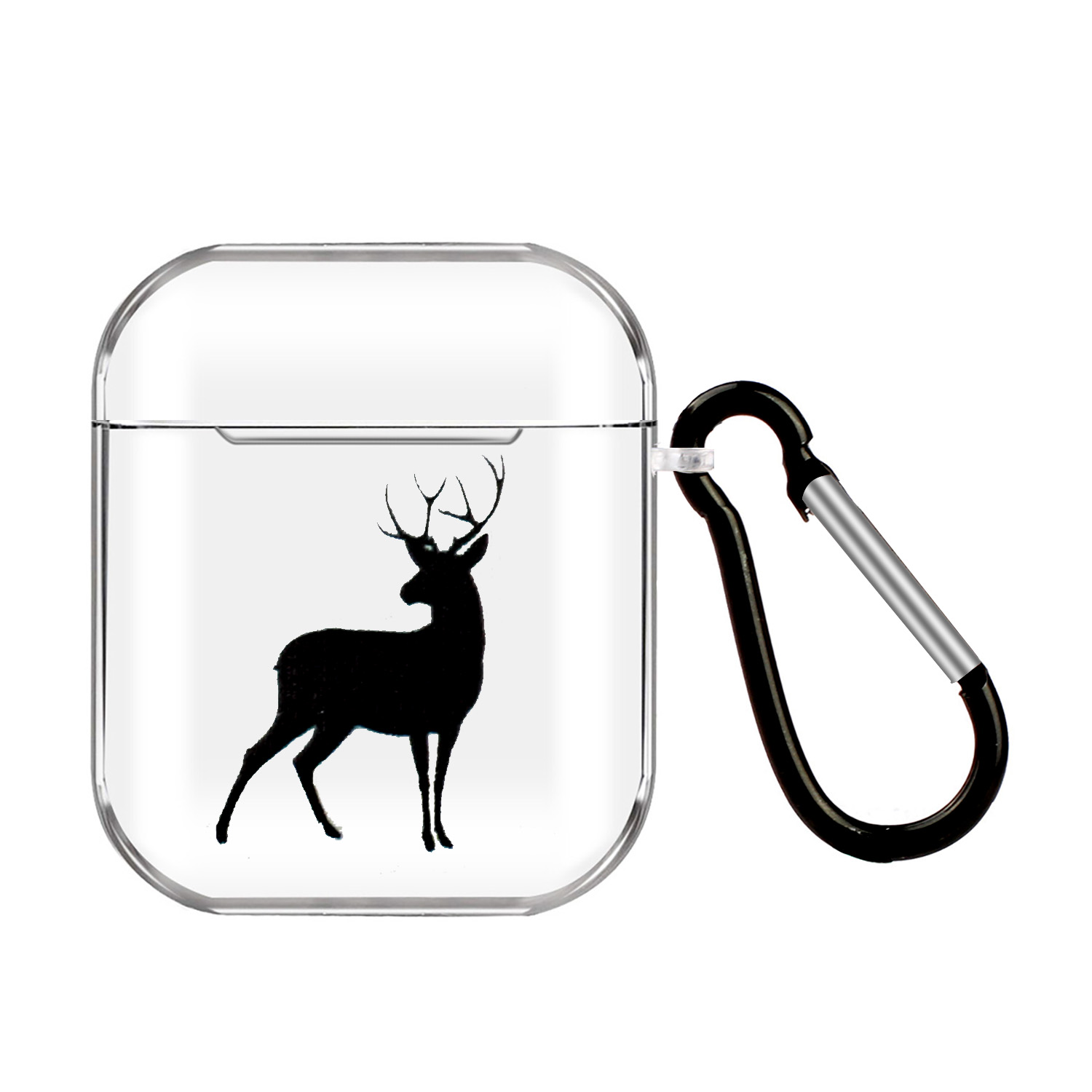 For AirPods 1/2 Headphones Case Transparent Earphone Shell with Metal Hook Overall Protection Cover 20 deer