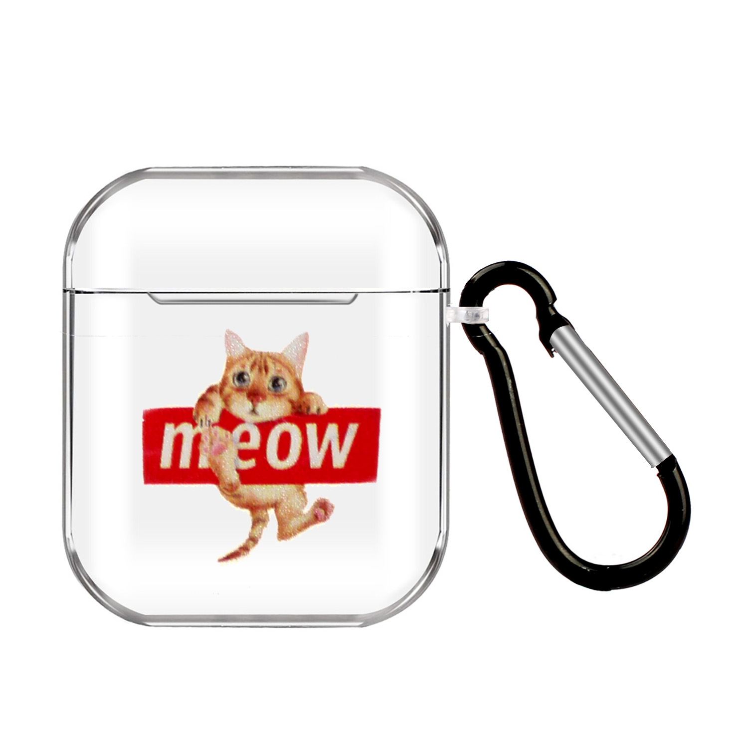 For AirPods 1/2 Headphones Case Transparent Earphone Shell with Metal Hook Overall Protection Cover 19 cats