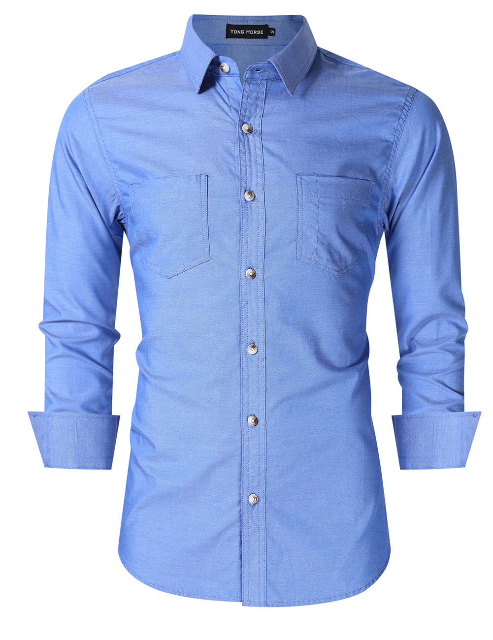Yong Horse Men's Classic Oxford Shirts Blue S