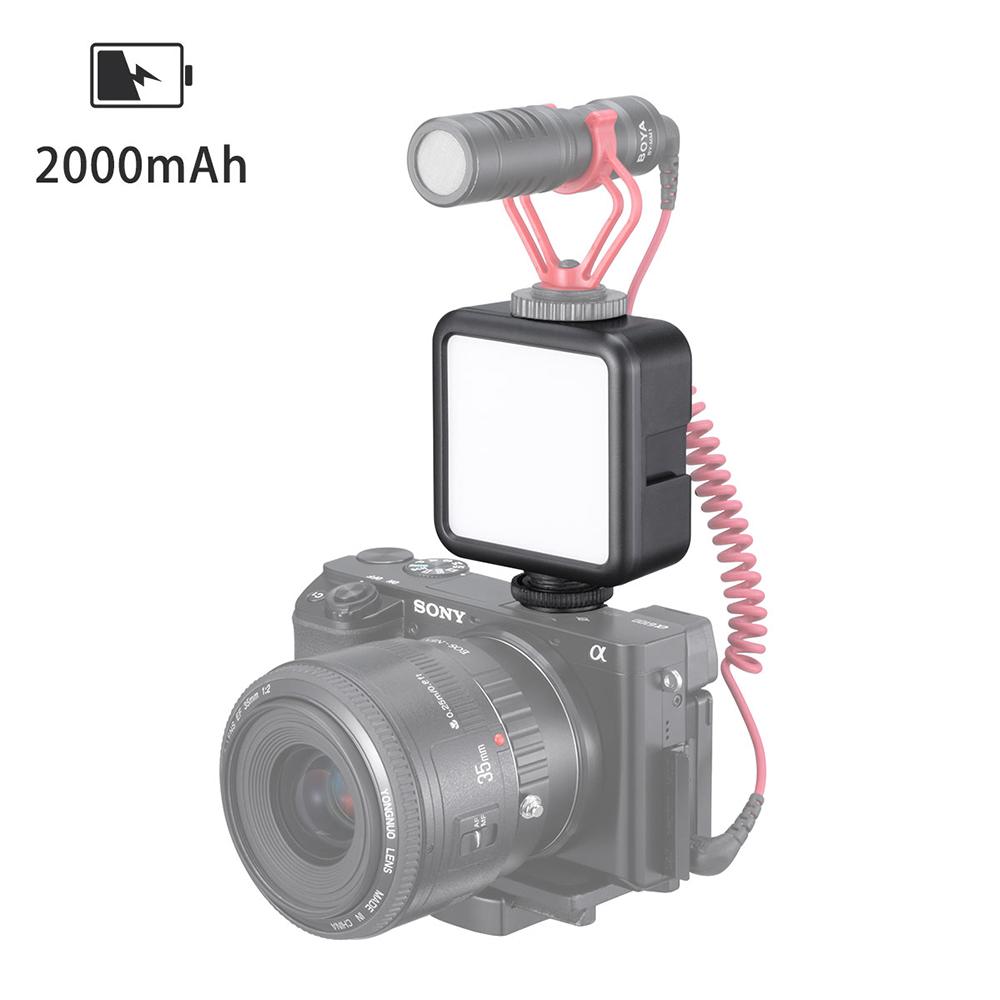VL49 6W Mini LED Video Light 2000mAh Built-in Battery Light 5500K Photographic Lighting with Cold Shoe Mount 1/4 Screw black