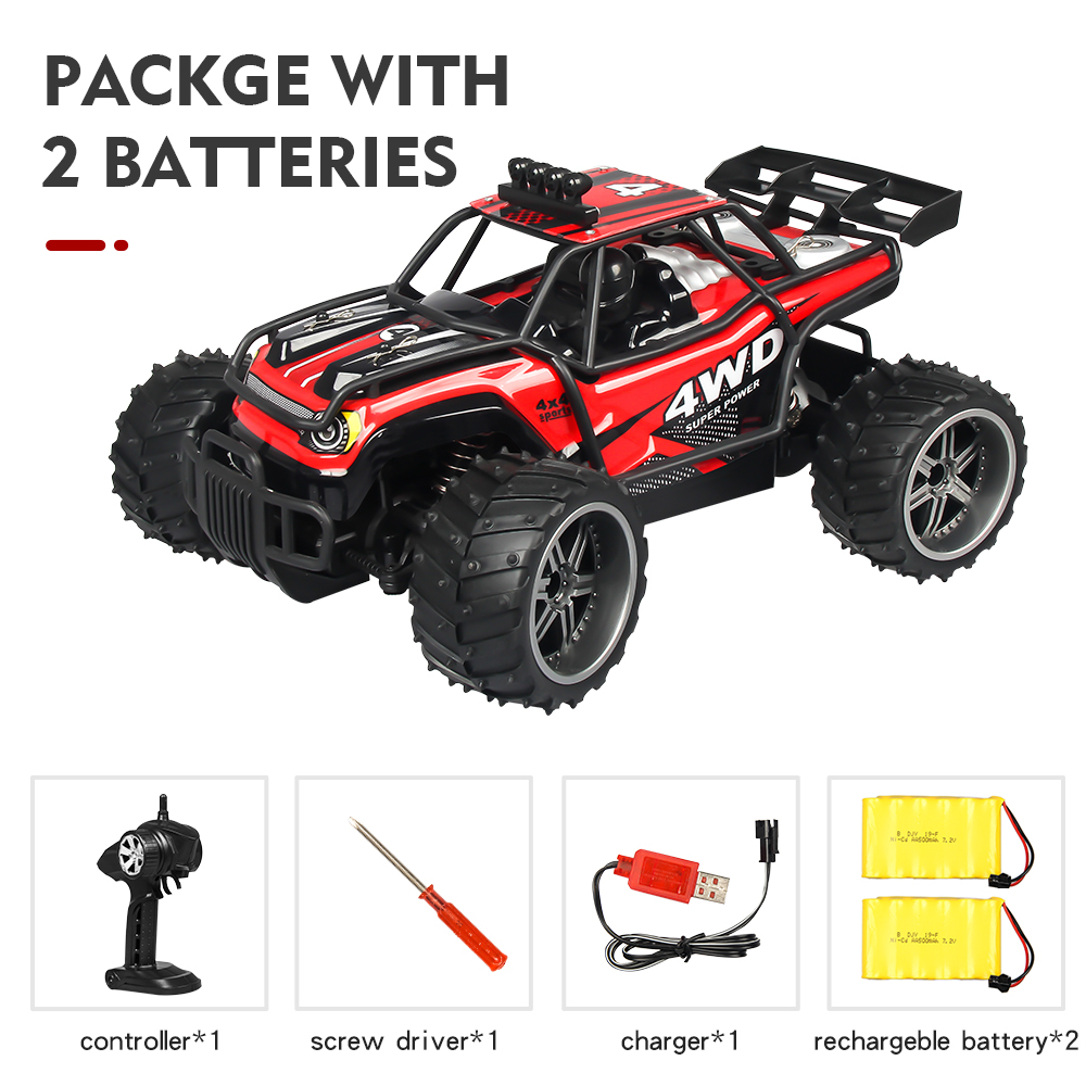 High-speed Car Remote Control Cross-country Climbing Car 2.4G Four-wheel Drive Racing Car Charging S009 Children Toys Red dual battery package_1:16