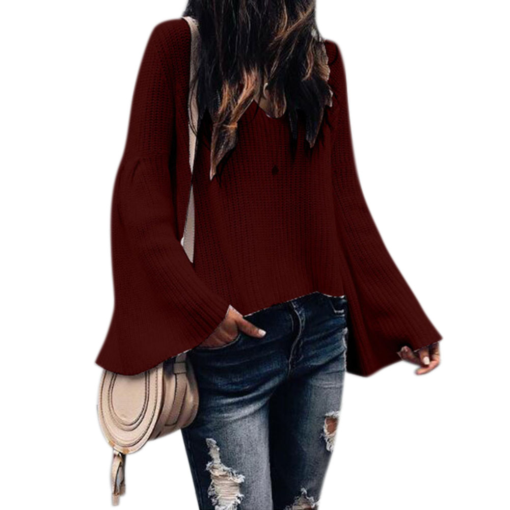 Women Sexy V-neck Pagoda Sleeve Sweater Elegant Solid Color Loose Pullover