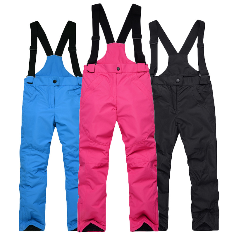 Thicken Windproof Warm Snow Children Trousers Winter Skiing and Snowboard Pants for Boys and Girls black_L