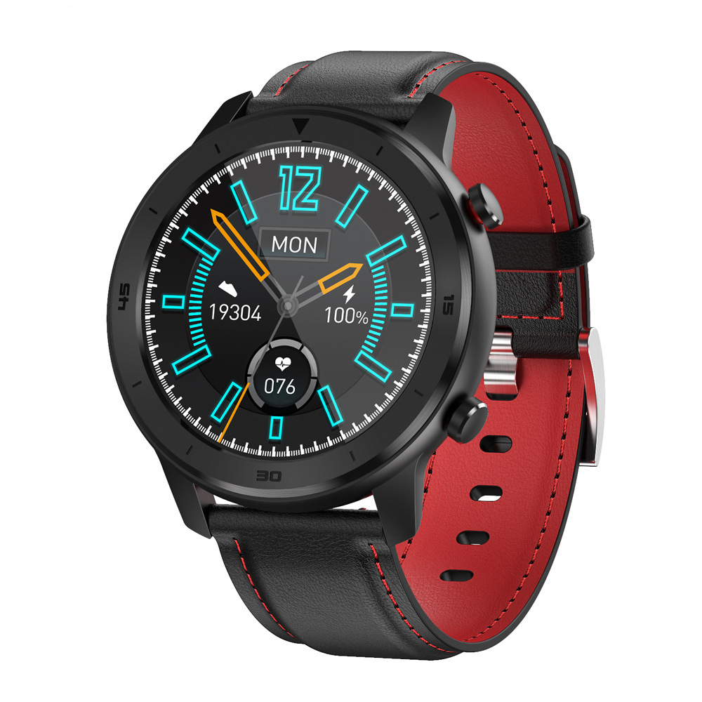 DT78 Smart Watch Sports Smartwatch Fitness Bracelet B1.3inch Full Touch Screen 230mAh Battery IP68 Waterproof Health Monitor Red leather band