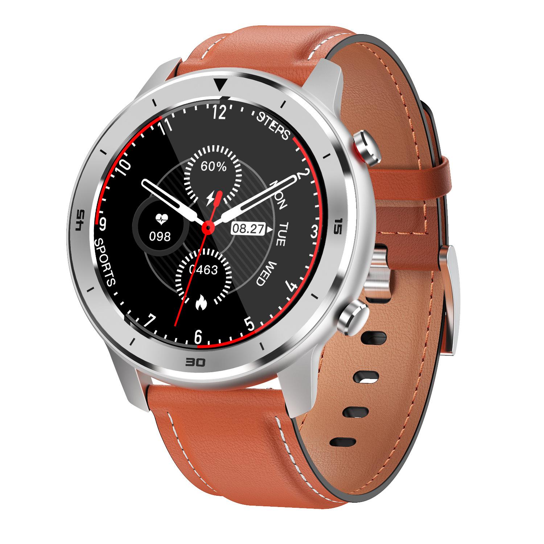DT78 Smart Watch Sports Smartwatch Fitness Bracelet B1.3inch Full Touch Screen 230mAh Battery IP68 Waterproof Health Monitor Orange leather band