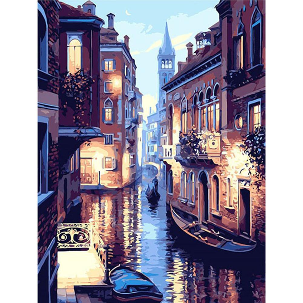DIY Frameless Venice Landscape Oil Painting Set with Number Mark Home Office Decoration No frame 40x50cm