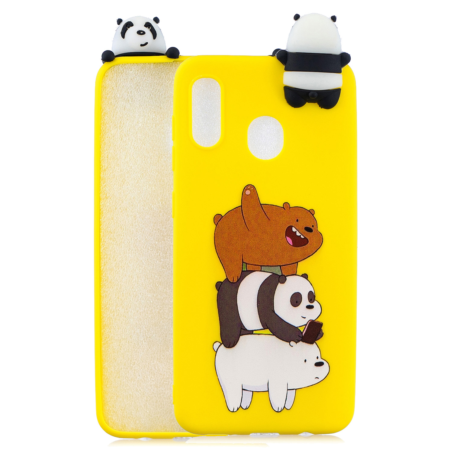 For Samsung A10S A20S Color Painting Pattern Drop Protection Soft TPU Mobile Phone Case+Back Cover Bracket Striped bear