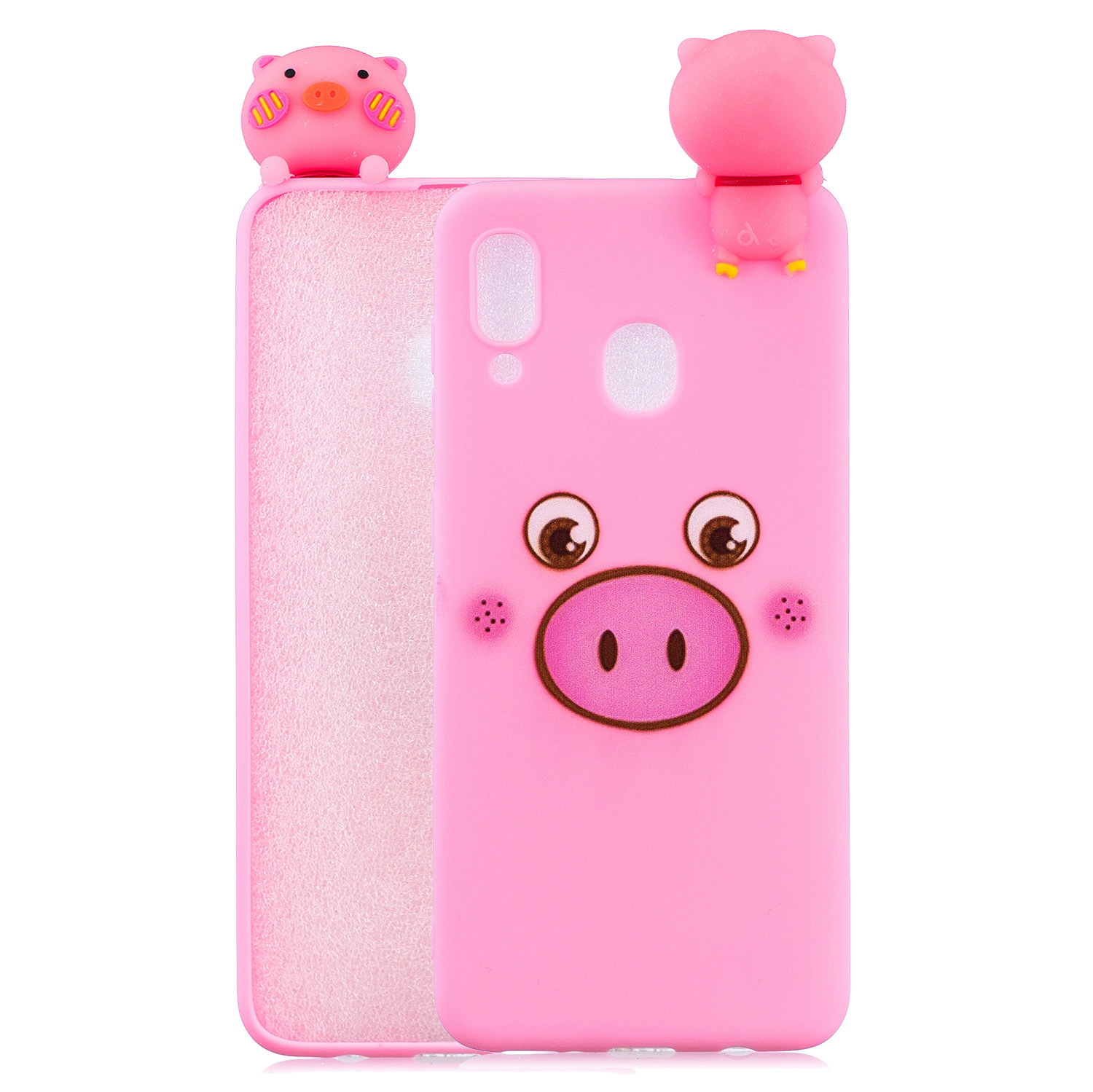 For Samsung A10S A20S Color Painting Pattern Drop Protection Soft TPU Mobile Phone Case+Back Cover Bracket Small pink pig