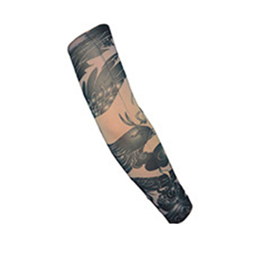 Breathable Tattoo Pattern Cycling Bike Bicycle Arm Warmers Cuff Sleeve Cover UV Sun Protection for Outdoor Activities Random Pattern W-40