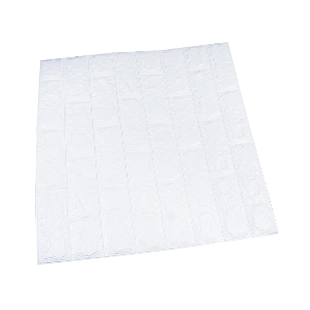3D Embossed Foam Soft Brick Waterproof Moisture-Proof Wall Sticker Self-adhesive Panel Decal Wall white