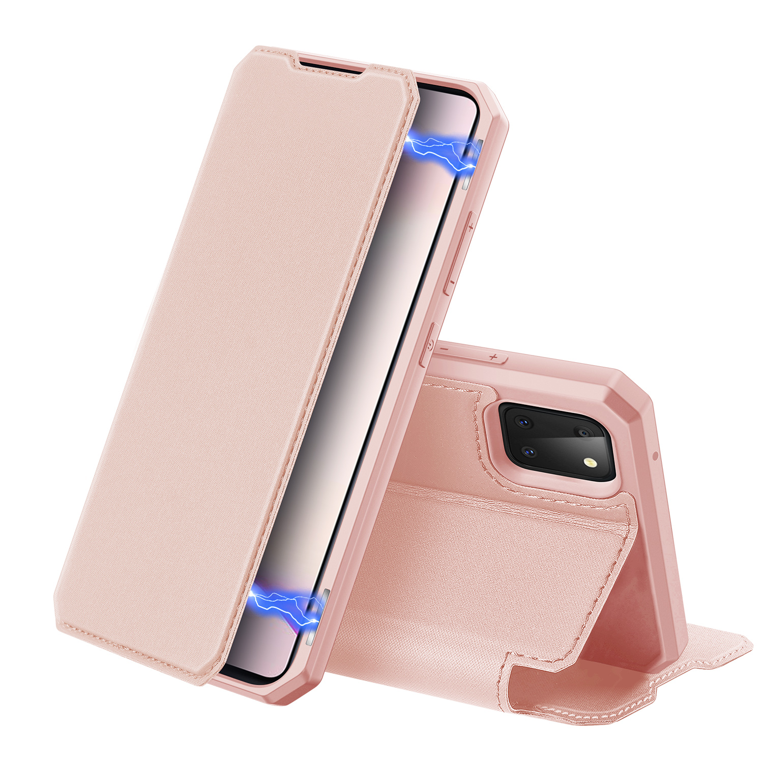 For Samsung NOTE 10 Lite Magnetic Protective Case Bracket with Card Slot Leather Mobile Phone Cover Pink