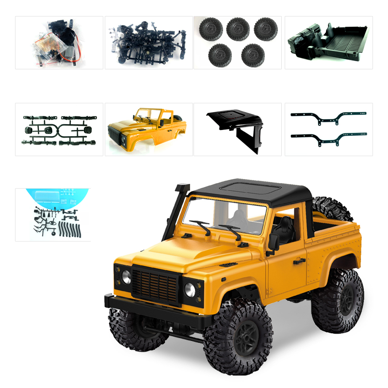 1:12 2.4G Remote Control High Speed Off Road Truck Vehicle Toy RC Rock Crawler Buggy Climbing Car for PICKCAR D90 Kid Boy Toys KIT yellow without remote control, battery, charger