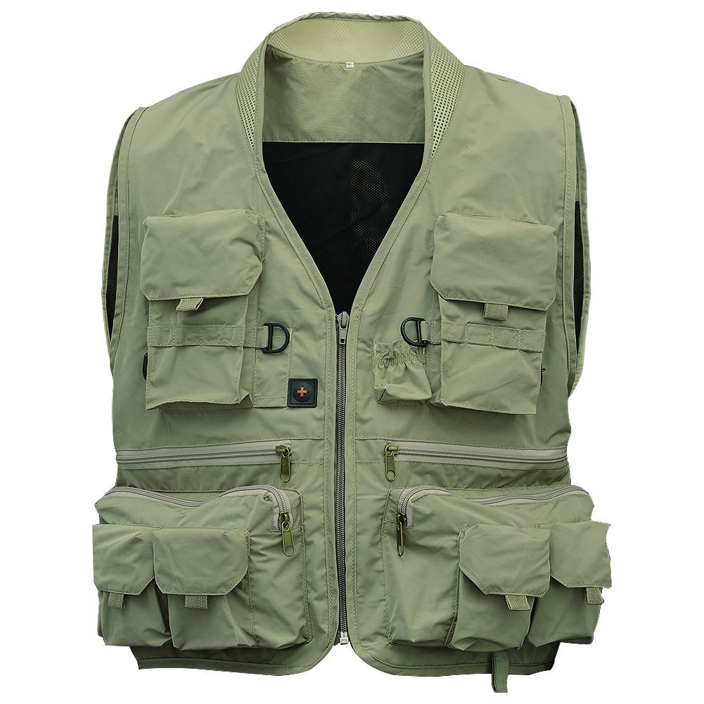 Adult Multi Pocket Fishing Vest Breathable Quick Dry Active Wear Jacket for Outdoor Sports XXXL Khaki  pea green_XXXL