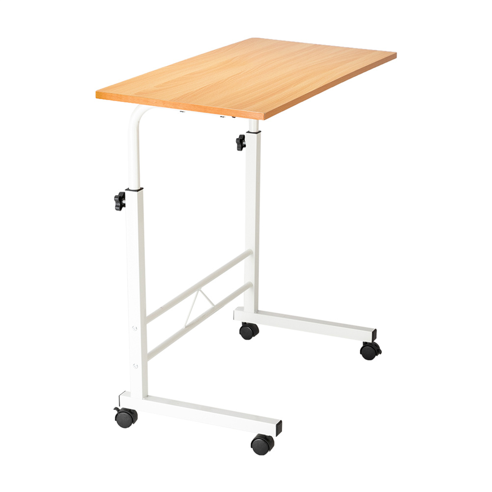 [US Direct] Multifunctional Side  Table P2 15mm Chipboard Steel Computer Desk With Removable Board Beech