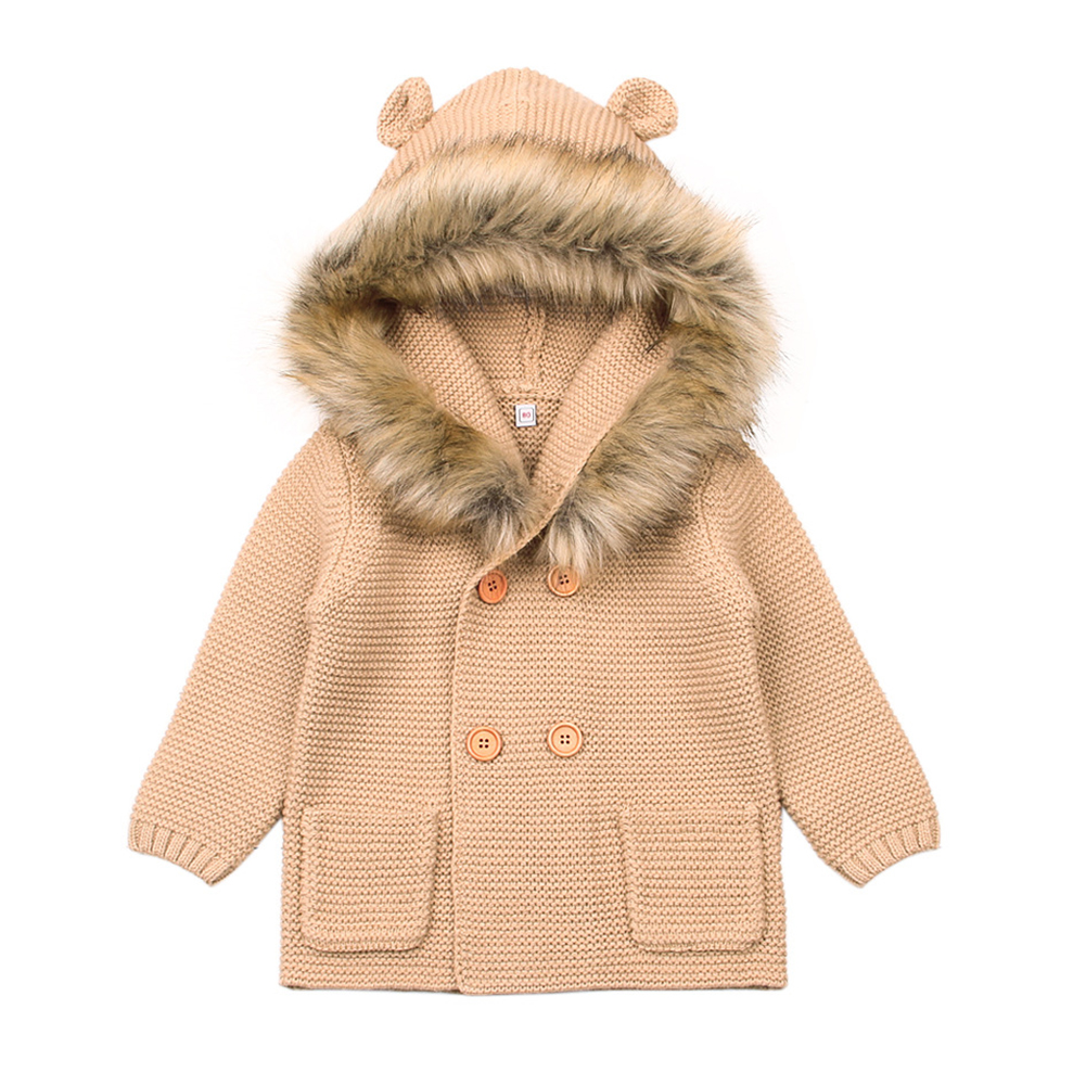 Children Boys Girls Hooded Knitted Long Sleeve Sweater Hairy Neckline Double-breasted Cartoon Ear Outerwear brown_80cm