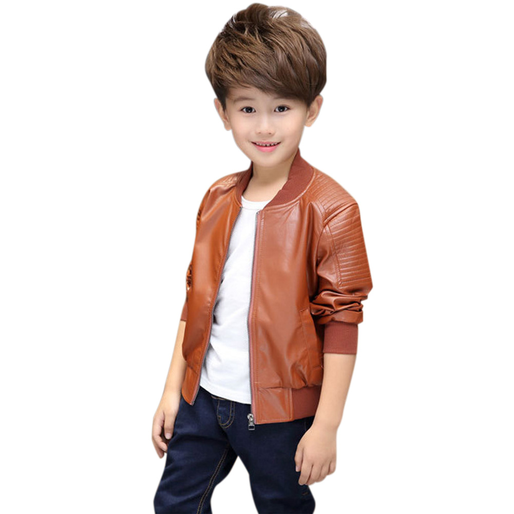Children Boys Zipper PU Jacket Fashionable Winter Warm Fleeced Coat Top for Kids Chocolate thickened_150cm