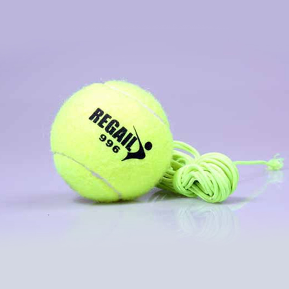 Advanced Tennis Training Device Rubber Bouncy Tennis Ball with Elastic Rope Exercise Trainer yellow