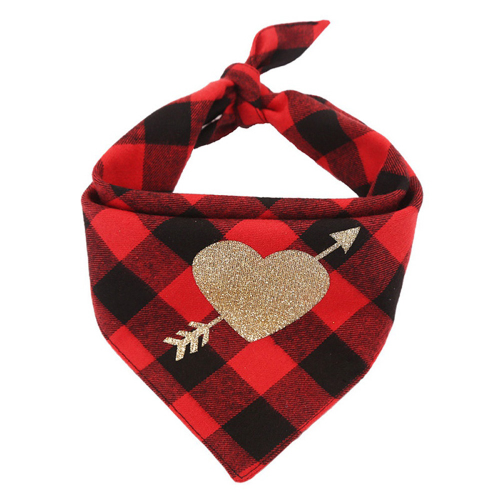 Cotton Love Heart Pet Neckerchief Dog Scarf Saliva Towel for Valentine Red and black plaid_Neck circumference 25 ~ 48cm