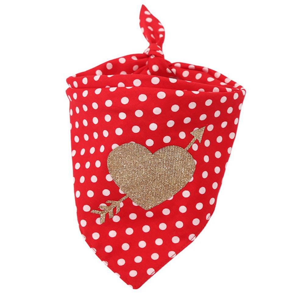 Cotton Love Heart Pet Neckerchief Dog Scarf Saliva Towel for Valentine Dot_Neck circumference 25 ~ 48cm