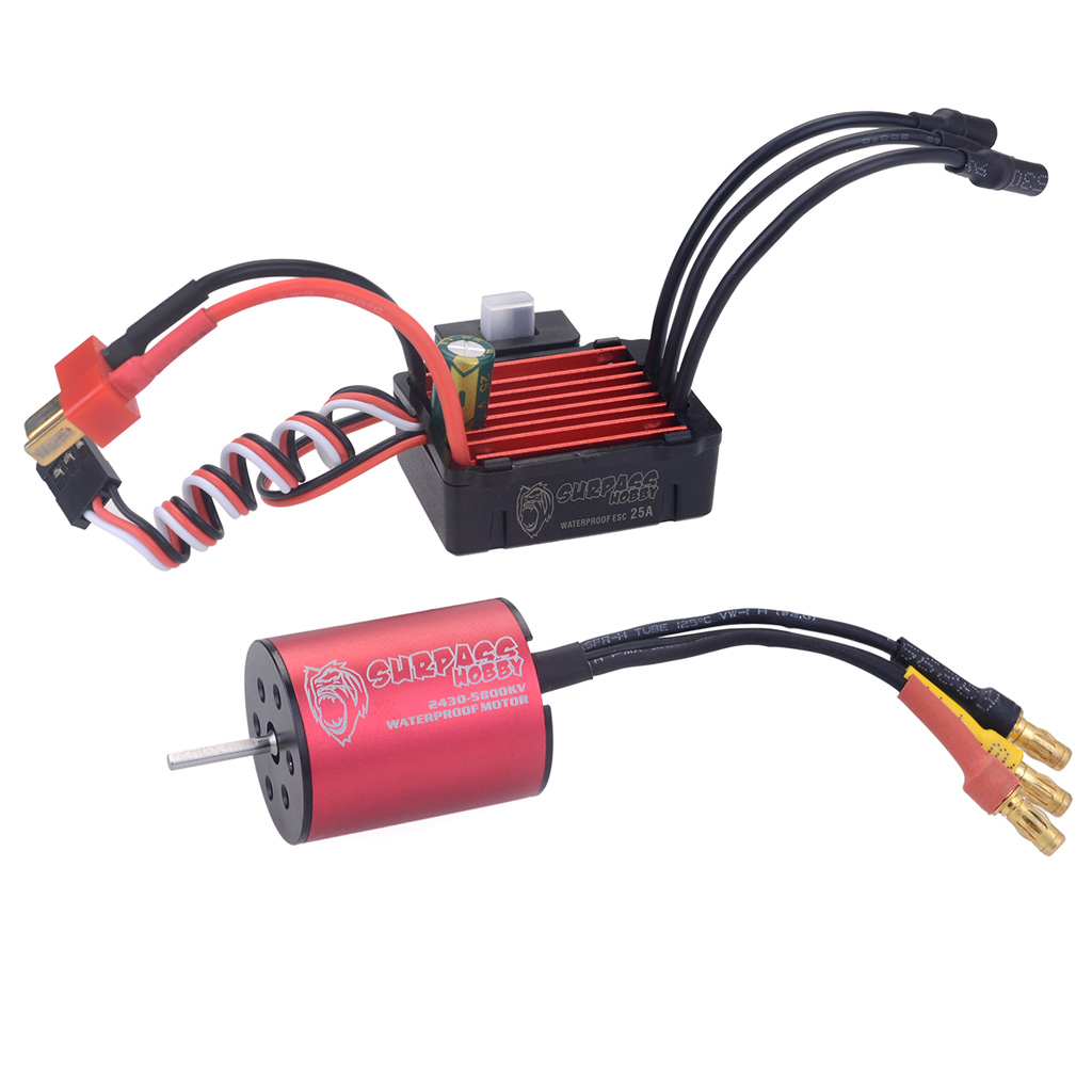 Surpass Hobby 2430 5800KV Brushless Motor + 25A Brushless Speed Controller ESC Waterproof for 1/18  & 1/16 RC Car red_5800KV+25A