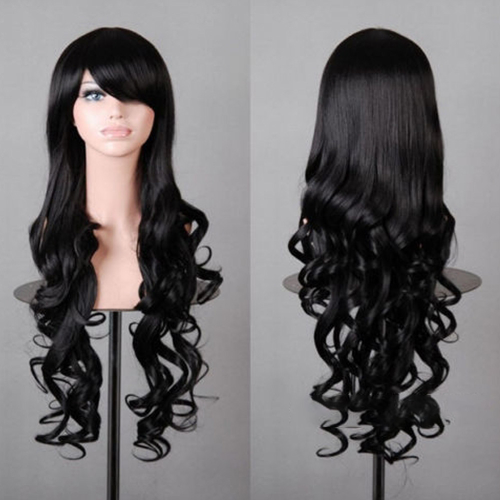 Wavy Hair Cosplay Long Wigs for Women Ladies Heat Resistant Synthetic Wig Roll black