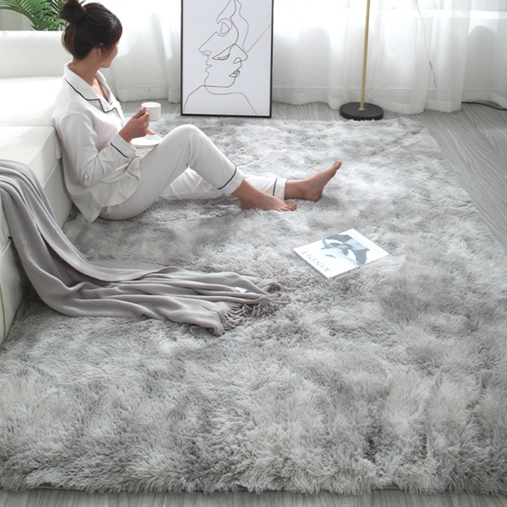 Simple Plush Carpet Bedroom Cute Bedside Blanket Nordic Living Room Sofa Coffee Table Mat Thick Mat Tie-dyed gray_50*160 cm