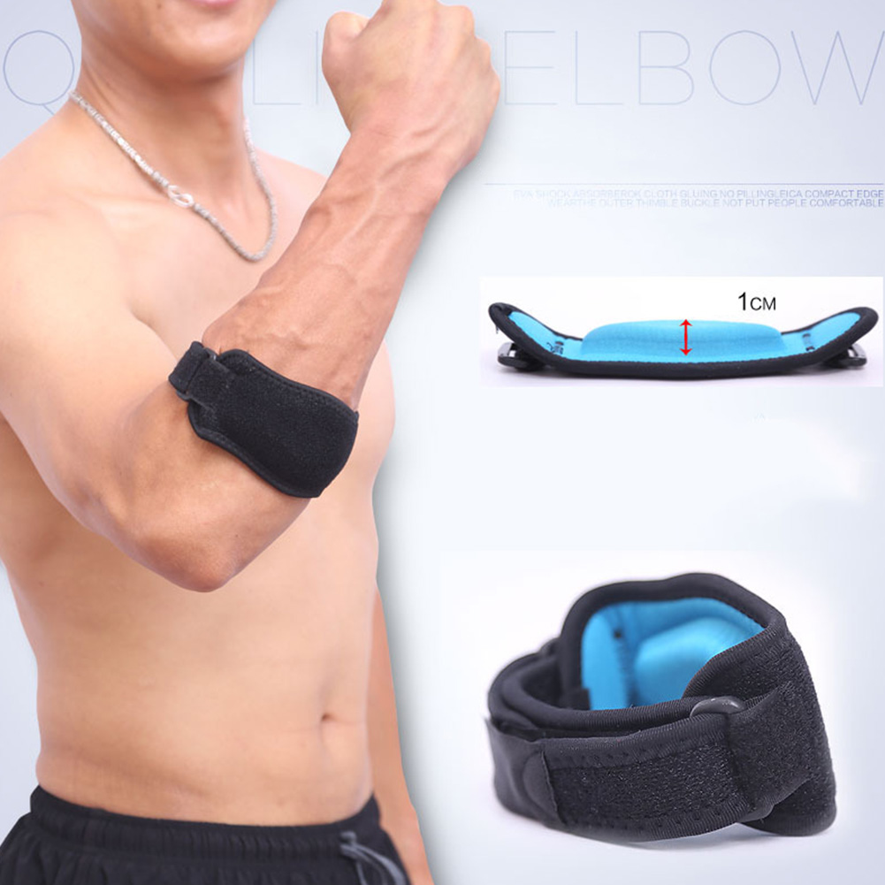 1pcs Adjustable Elbow Supporter Compression Pad Spongy Protection for Tennis Badminton Basketball One Black with blue lining