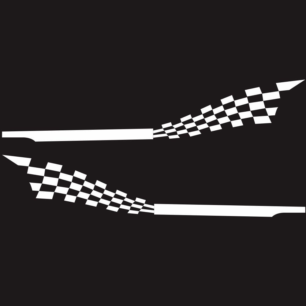 2pcs 215x30cm Both Sides Car DIY Checkered Flag Stickers Racing Stripes Wrap Vinyl Film Car Stickers white