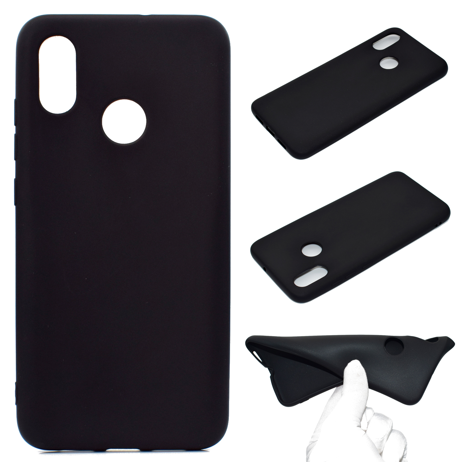 for XIAOMI Redmi S2 Lovely Candy Color Matte TPU Anti-scratch Non-slip Protective Cover Back Case black
