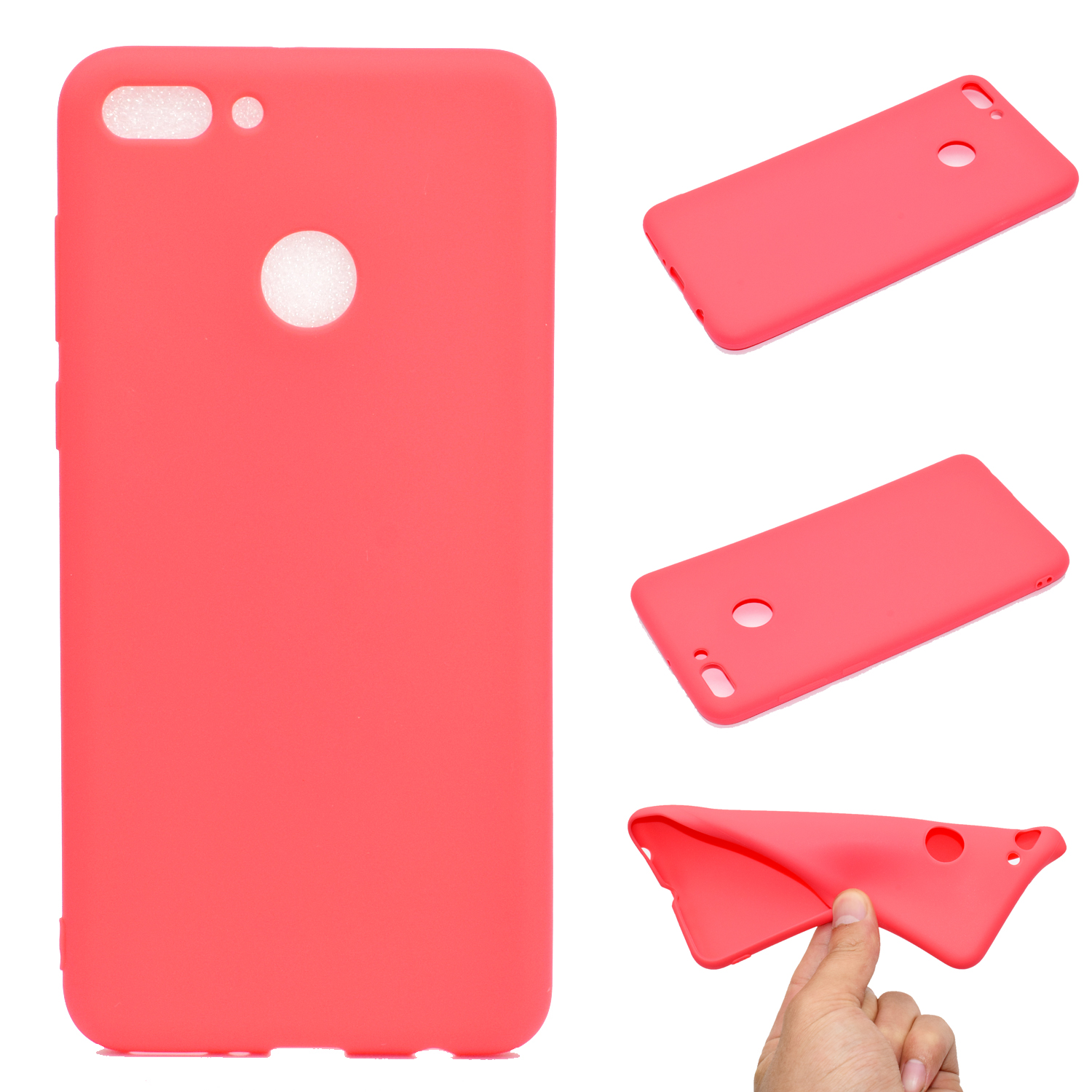 for HUAWEI Y9 2018 Lovely Candy Color Matte TPU Anti-scratch Non-slip Protective Cover Back Case red