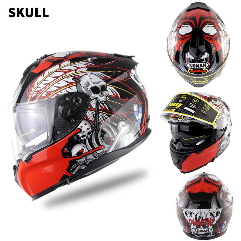 Motorcycle Racing Helmet Men and Women Motorcycle Helmet Double Lenses Compatiable with Glasses Safe ECE Standard Helmet Motorcycle Accessaries Demon_S