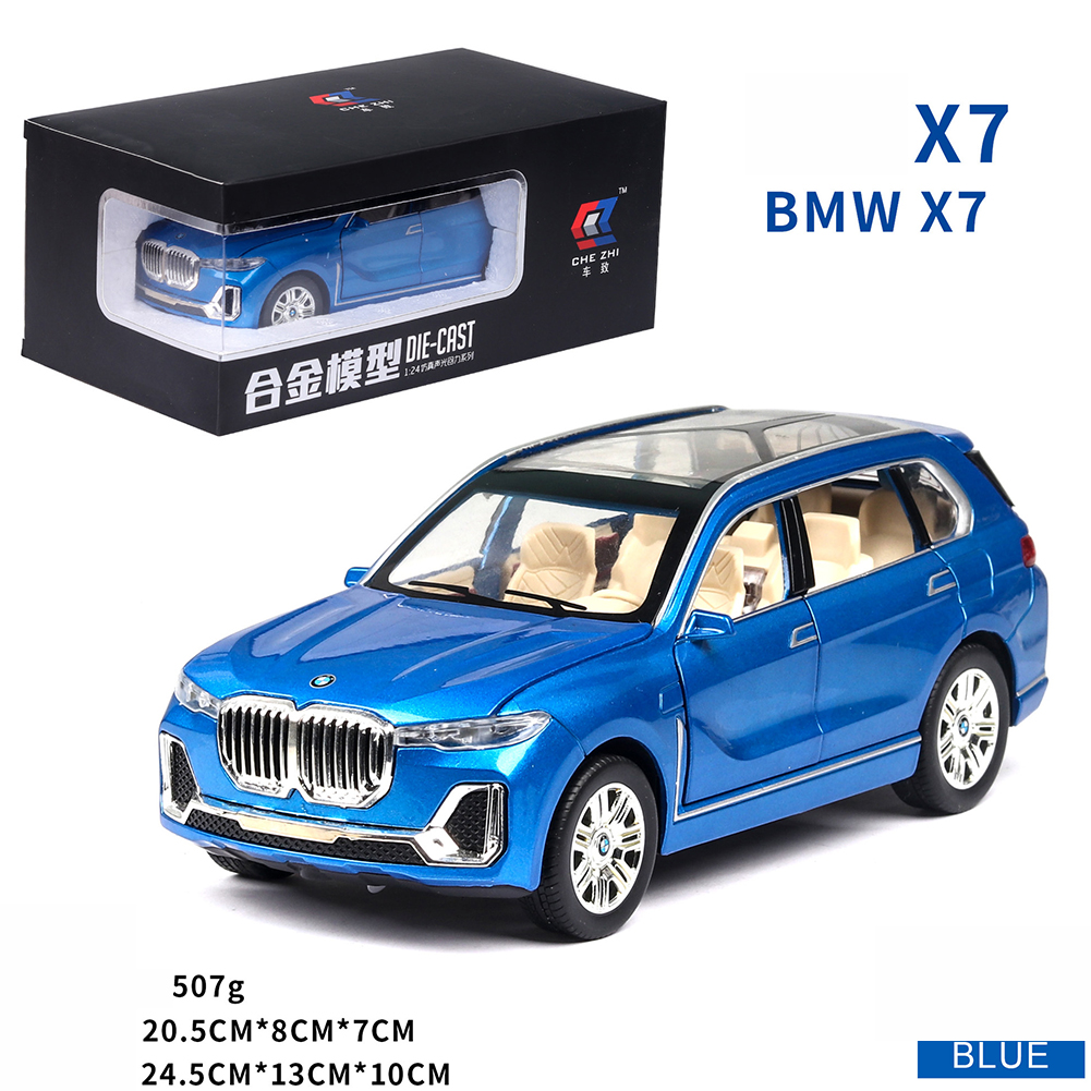 X7 High Simulation 1:24 SUV Sound Light Alloy Car Model Toy for Kids blue