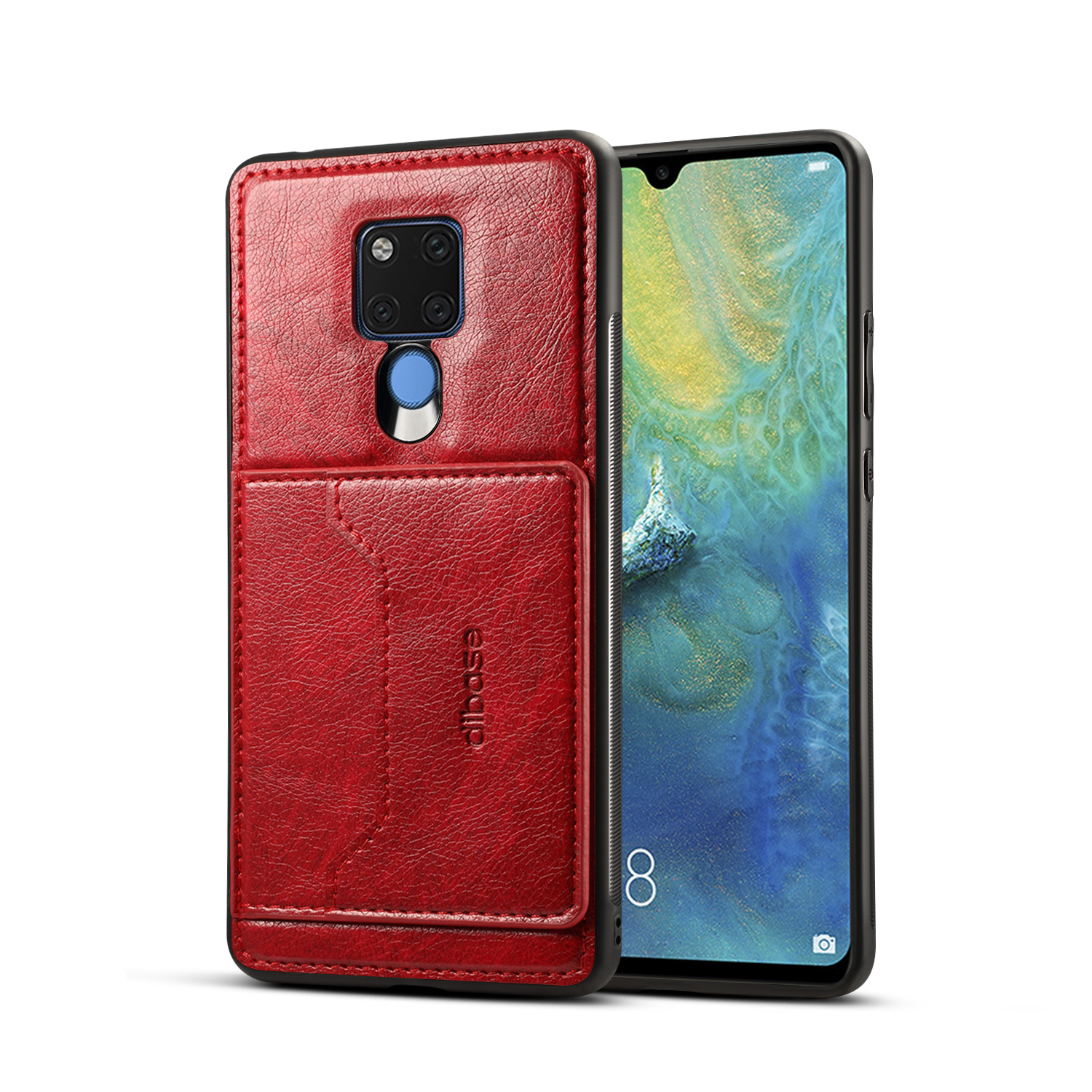 For HUAWEI MATE 20X 2 in 1 Retro PU Leather Wallet Stand Non-slip Shockproof Cell Phone Case red
