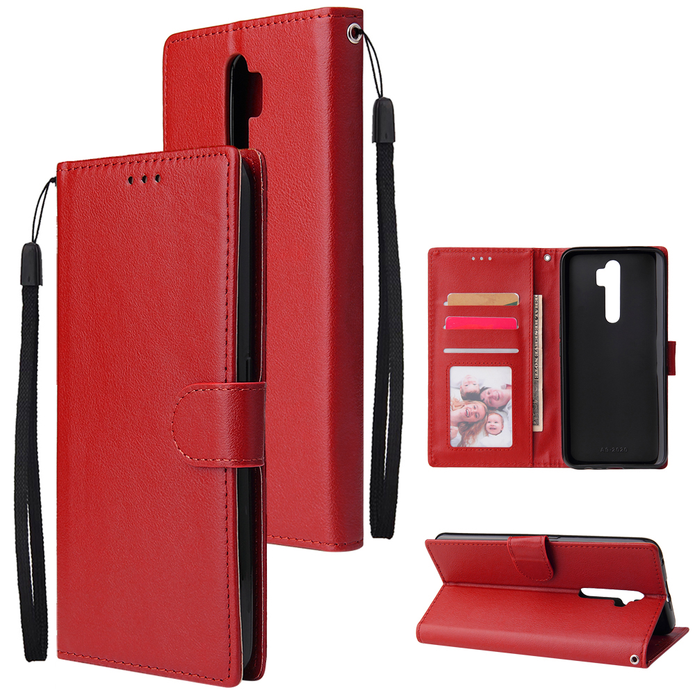 For Oppo A9 2020/Reno 2Z Cellphone Shell PU Leather Mobile Phone Cover Stand Available Anti-drop Elegant Smartphone Case Red