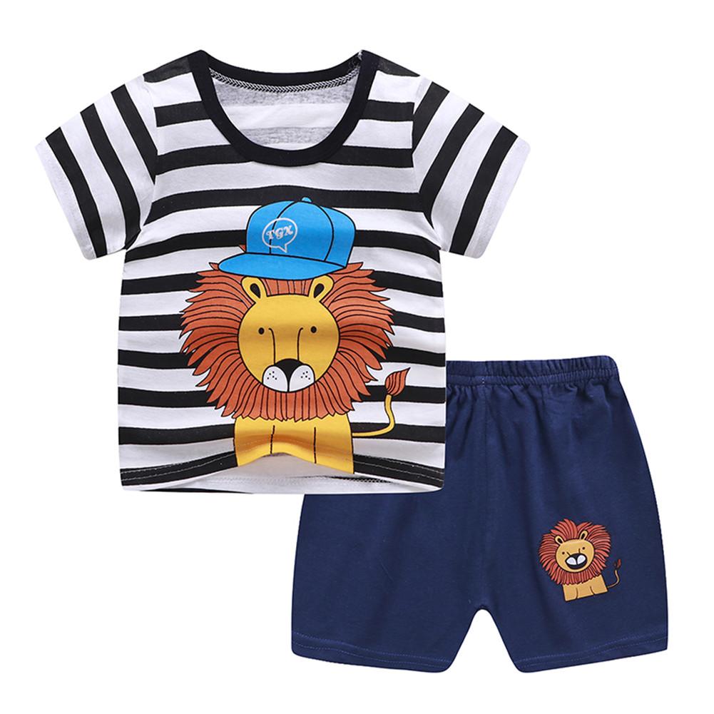 2Pcs Unisex Baby Short Sleeved Tops+Shorts Cartoon Pattern Clothes Children Home Wear B_100