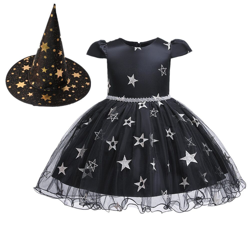 Kids Girls Halloween Witch Hat Star Princess Dress Set for Party Wear black_80cm
