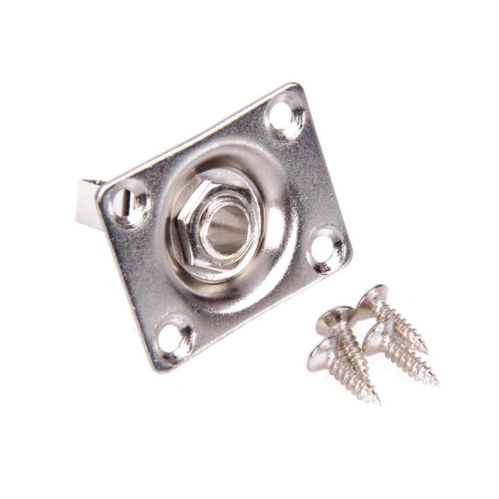 Square Guitar Jack Plate & Socket Assembly for TL Electric Guitar Silver