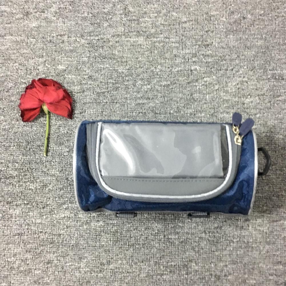 Bicycle Bag Multifunctional Touch Screen Frame Tube Handlebar Bag Riding Storage Bag Navy_22*12*12