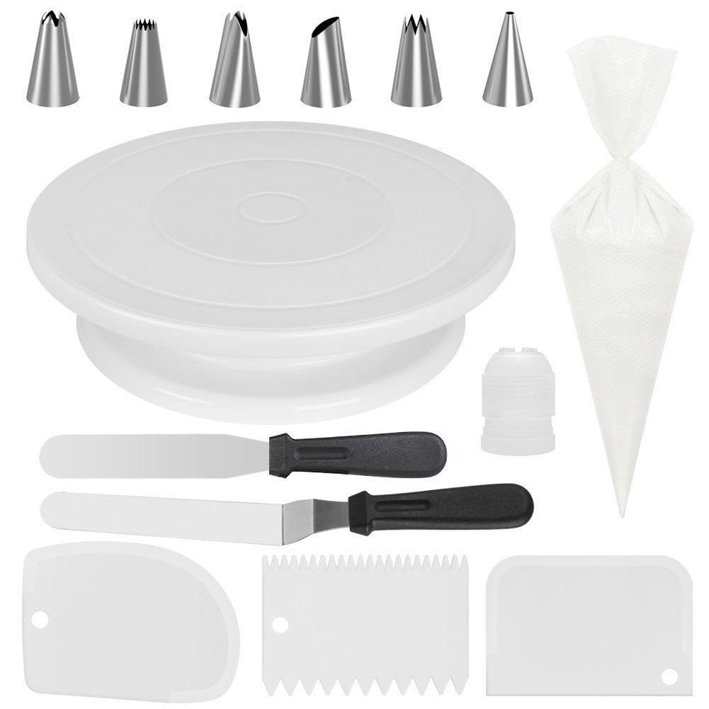 14pcs/set Revolving Cake  Decorating  Stand Kit Rotating Cake Turntable white